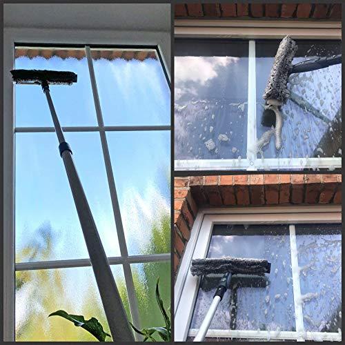 Teleskop Fensterputzer Profi Set mit Abzieher, Gummilippe, Kombi Fensterwischer 30cm und Alu-Teleskopstange 3m – für Wintergarten- Fensterreinigung und Solaranlagen-Reinigung - 4