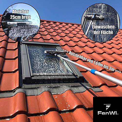 Teleskop Fensterputzer Profi Set mit Abzieher, Gummilippe, Kombi Fensterwischer 30cm und Alu-Teleskopstange 3m – für Wintergarten- Fensterreinigung und Solaranlagen-Reinigung - 3