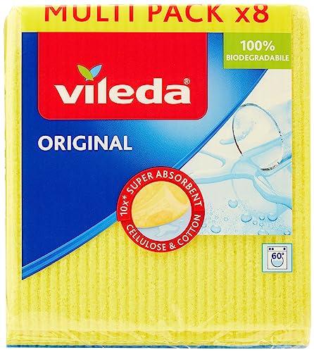 Vileda 142274 Schwammtuch - besonders hohe Saugkraft bis zu 100ml - 8er XXL Sparpack