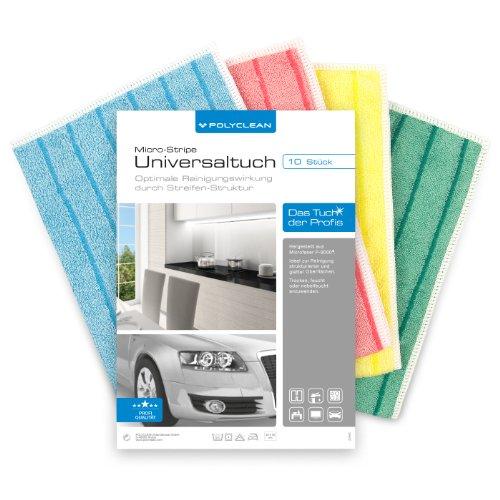 POLYCLEAN Micro-Stripe Universal-Microfasertuch 40×30 cm, 10 Stück im PowerPack für Haushalt, Auto und Hobby - 2