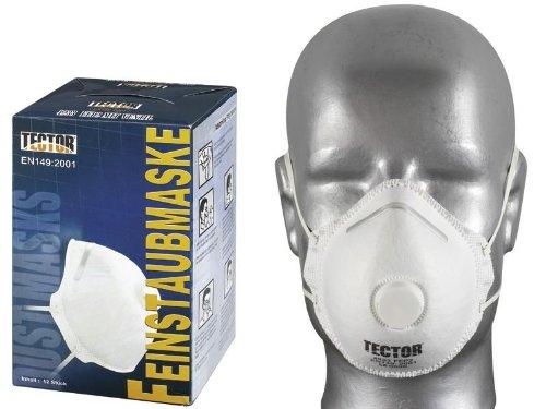 12 Stück Atemschutzmasken FFP2 mit Ventil - Feinstaubmasken von TECTOR
