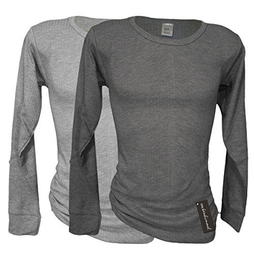 2 Funktions- Thermo- Unterhemden für Herren - Langarm - Sport- und Arbeits- Unterwäsche (6/M, 1x hellgrau / 1x dunkelgrau)