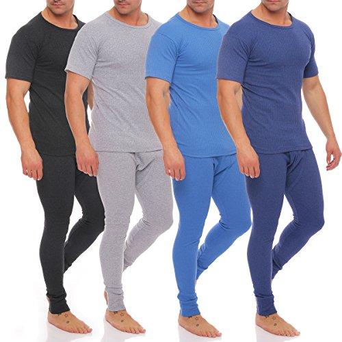 Herren Thermowäsche Ski Unterwäsche Set T-Shirt und Hose Innenfleece stylenmore (L, Grau) - 2