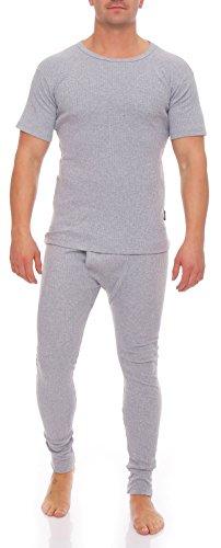 Herren Thermowäsche Ski Unterwäsche Set T-Shirt und Hose Innenfleece stylenmore (L, Grau) - 3
