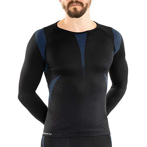 Sport Funktionswäsche Herren Langarm Hemd Seamless von celodoro schwarz/blau Größe: L / XL
