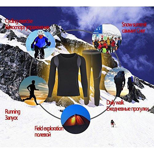 Wildconqueror Herren Elastic Thermo Unterwäsche Thermounterwäsche Set Sport Ski- & Thermowäsche Funktionsunterwäsche Schwarz Größe XXXL - 9