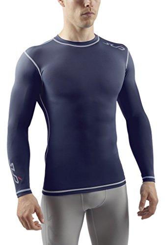 Sub Sports Herren Dual Kompressionsshirt Funktionswäsche Base Layer langarm, Navy, XL
